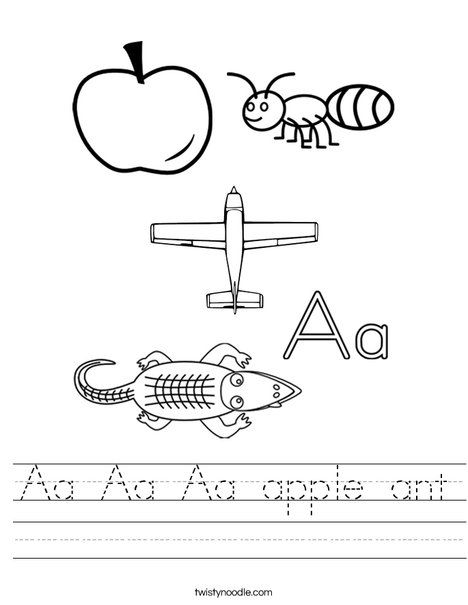 Aa Aa Aa apple ant Worksheet Twisty Noodle A is for