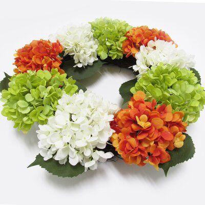 Photo of August Grove Hydrangea Flower 20″ Fabric Wreath Wreath Color: Green/Orange