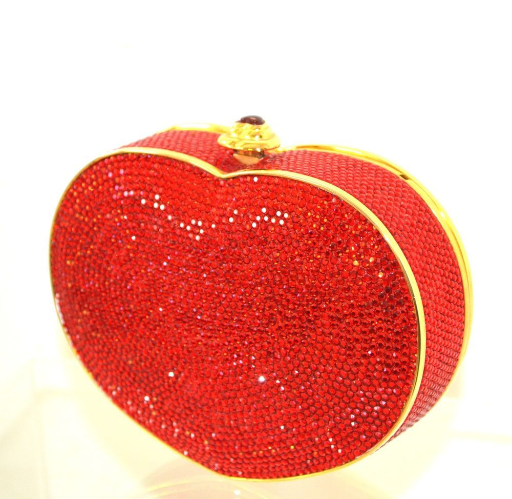 4f3d25635eb80 WF Judith Leiber Heart n Soul Ruby RED GOLD Clutch Vintage Valentine bag   JudithLeiberLieberDesignerCouture  EveningBagDayClutchCrossbodyMessenger