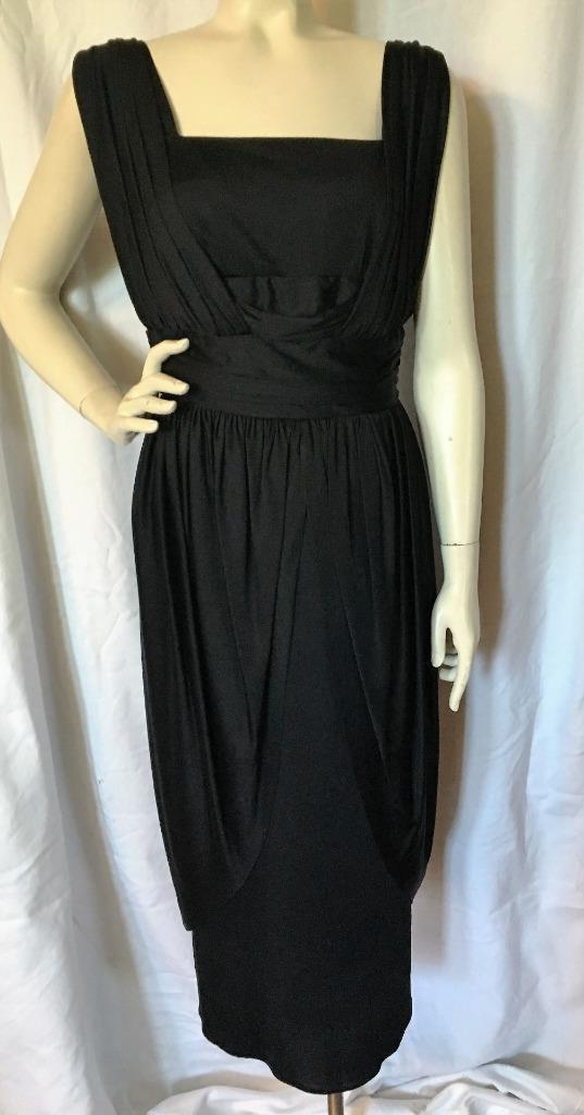 56fa274c112 Vintage 60 s RICHARD SHOPS Black Cocktail Dress 38 sz S Draped Grecian Vibe  UK Brand by MsBunnyVintage on Etsy