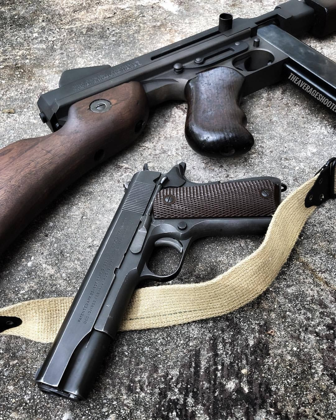 """theaverageshooter: """"Colt 1911A1 and the @auto_ordnance Thompson M1A1"""