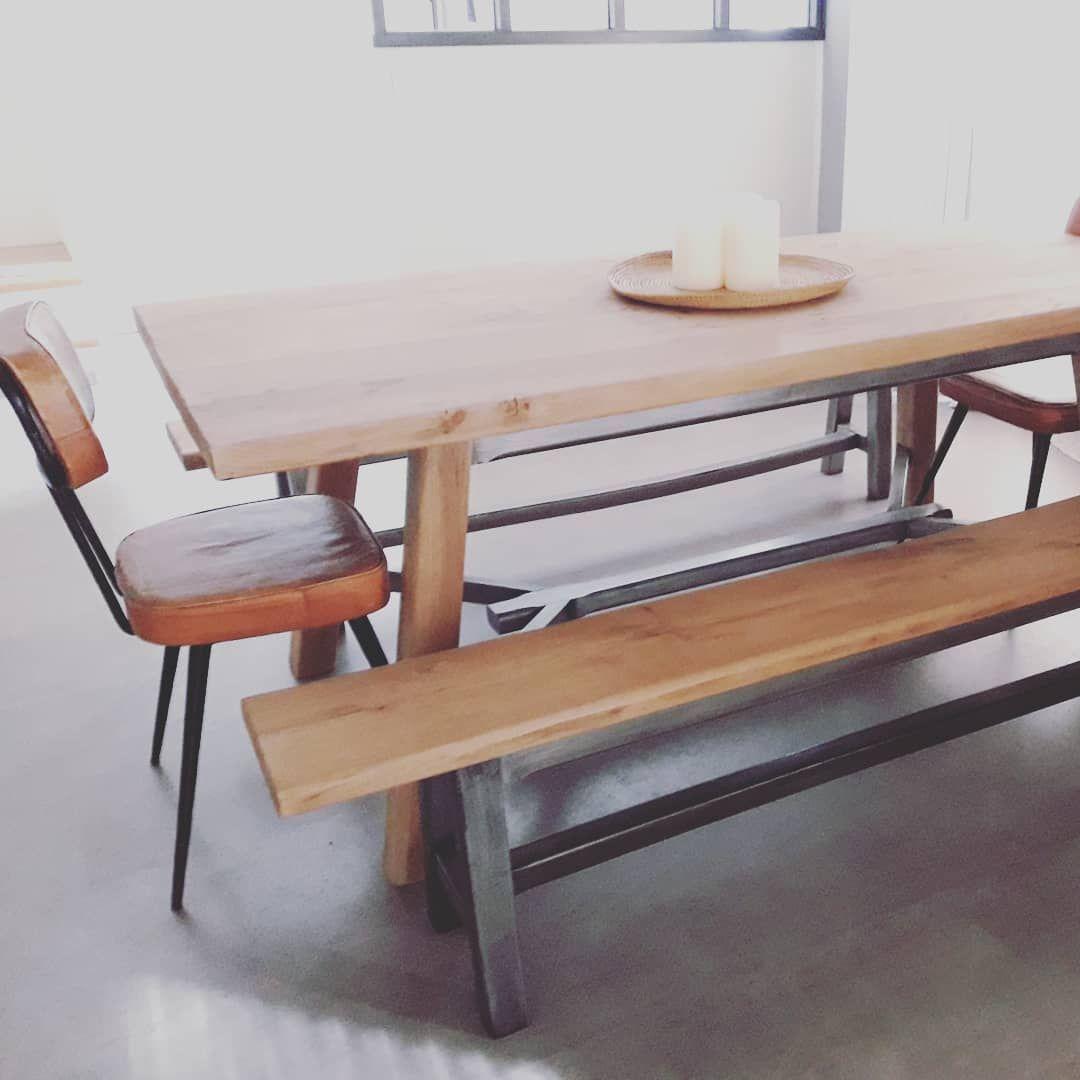 Table De Ferme En Orme Massif Dansmabullerelookingmeubles Table Meubledesign Relookingmeuble Handmade Salleamanger Decolof Furniture Decor Dining Bench
