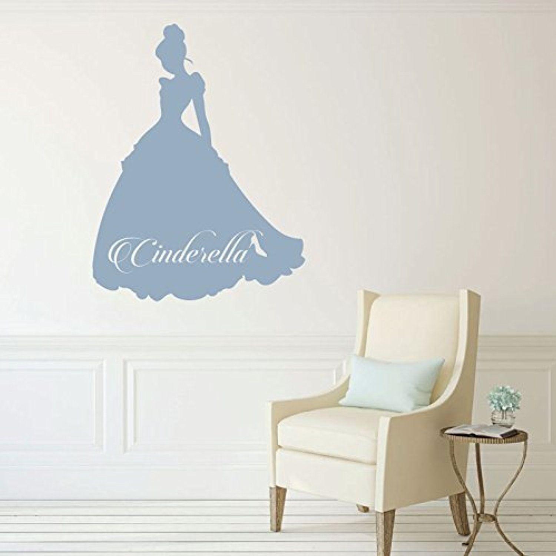 Disney Princess Cinderella w/ Name Vinyl Decals Little