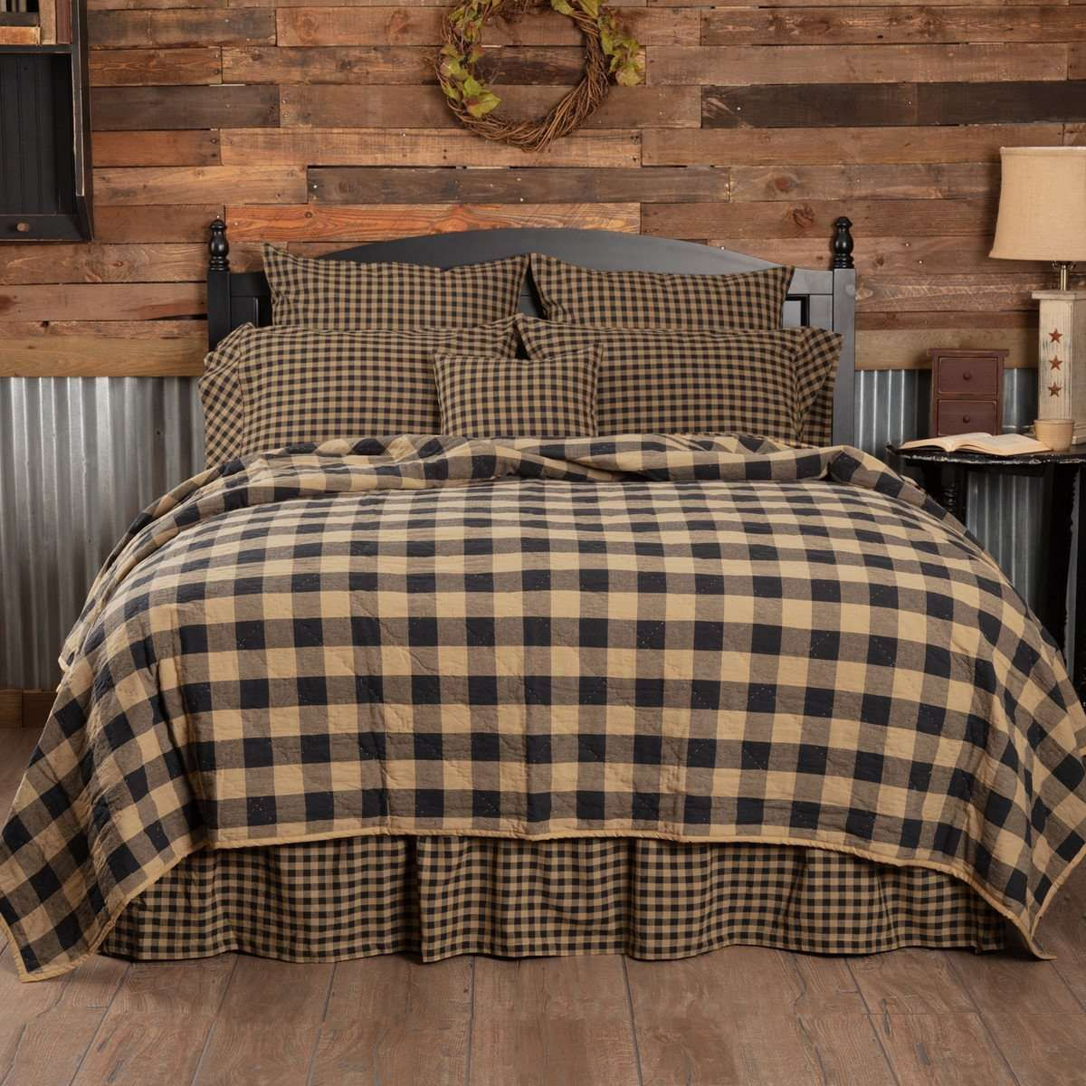 COUNTRY PRIMITIVE FARMHOUSE BURGUNDY CHECK QUILT COLLECTION VHC BRANDS