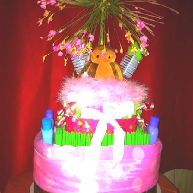 My first-ever diaper cake!