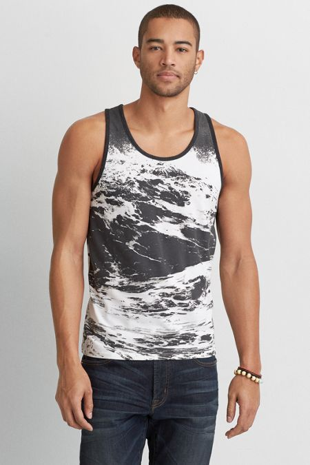 AEO Graphic Tank Top, Men's, Size: M-Tall, White