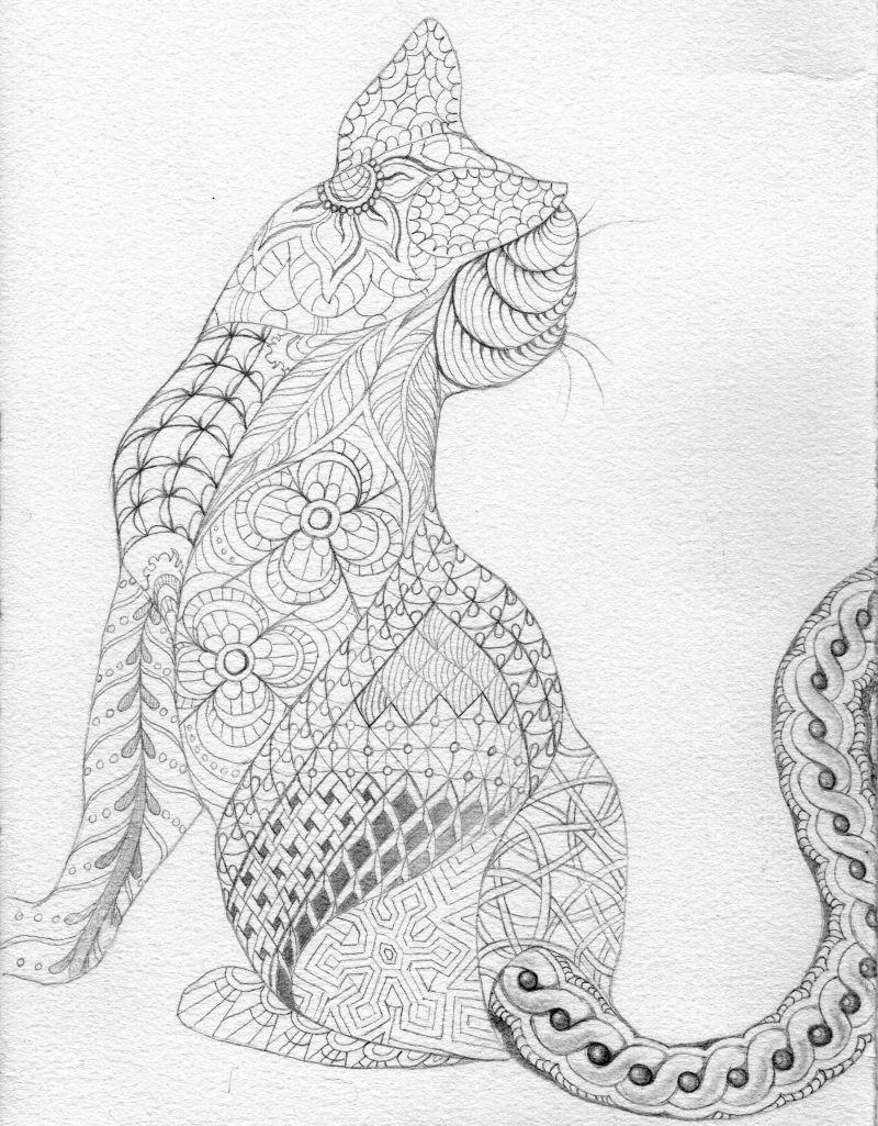 Cat Abstract Doodle Zentangle ZenDoodle