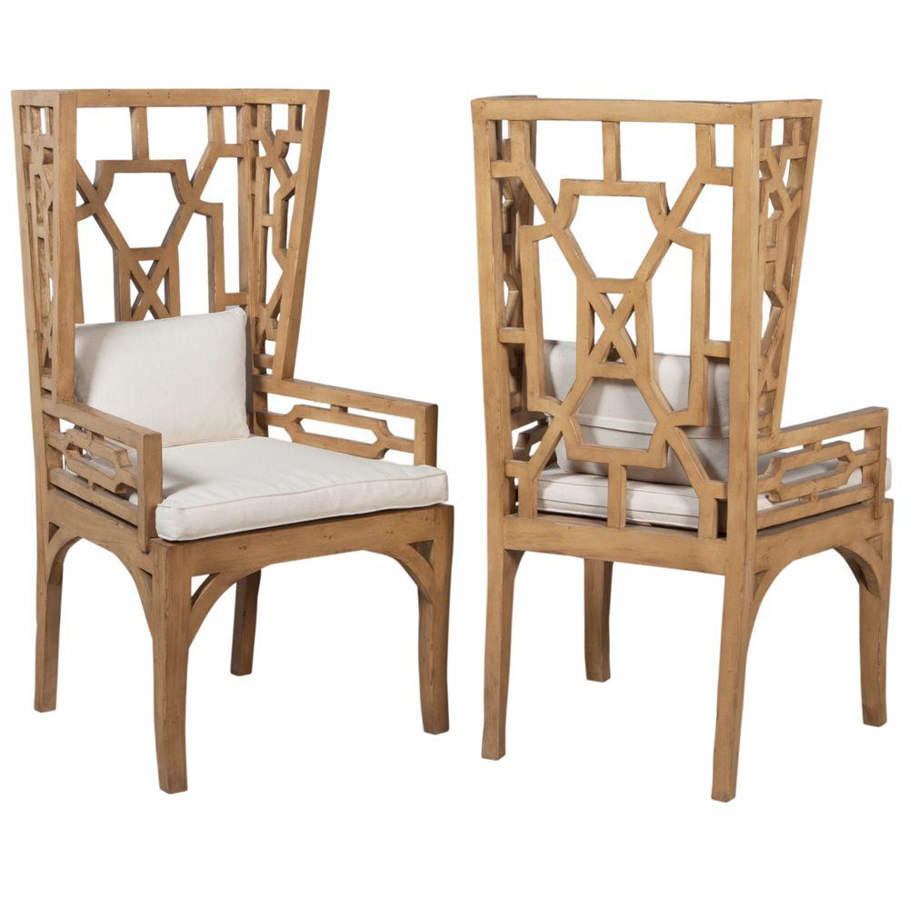Artisan Carved Wing Chair - natural wood finish | Modern Coastal ...