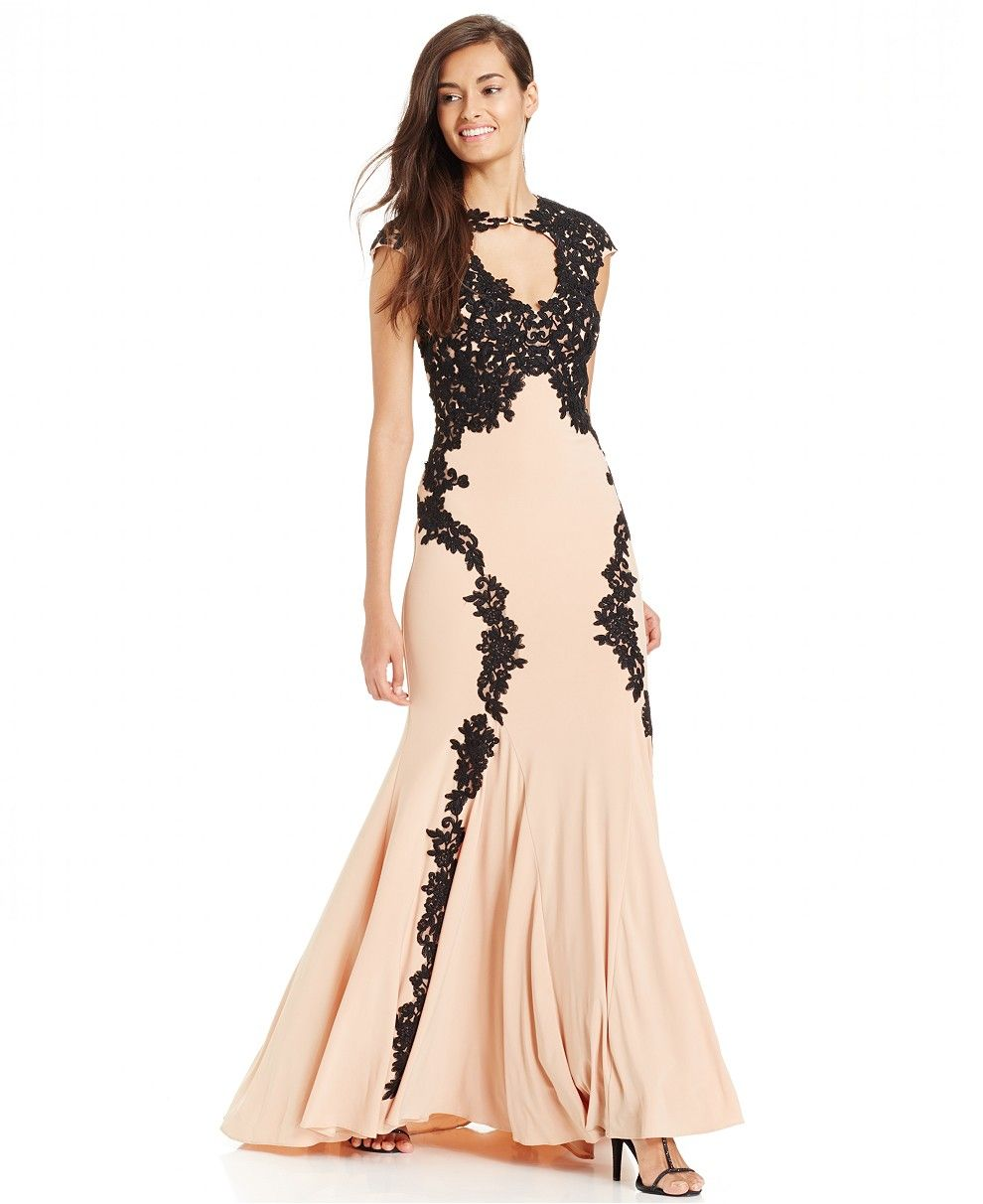 Betsy Adam Lace Overlay Keyhole Gown Dresses Women Macys