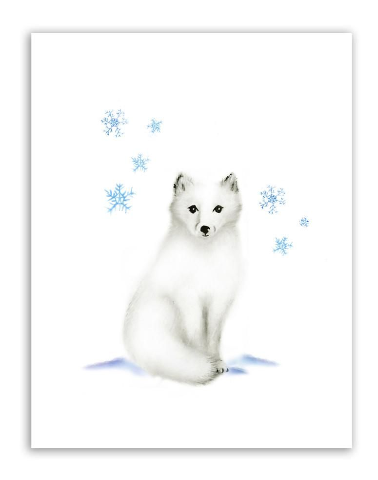 Arctic Fox Nursery Art Print In 2020 Watercolor Fox Fox Nursery Fox Art