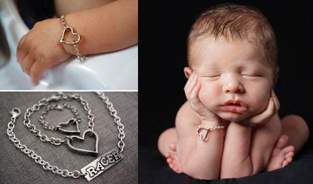 Rustic baby heart bracelet