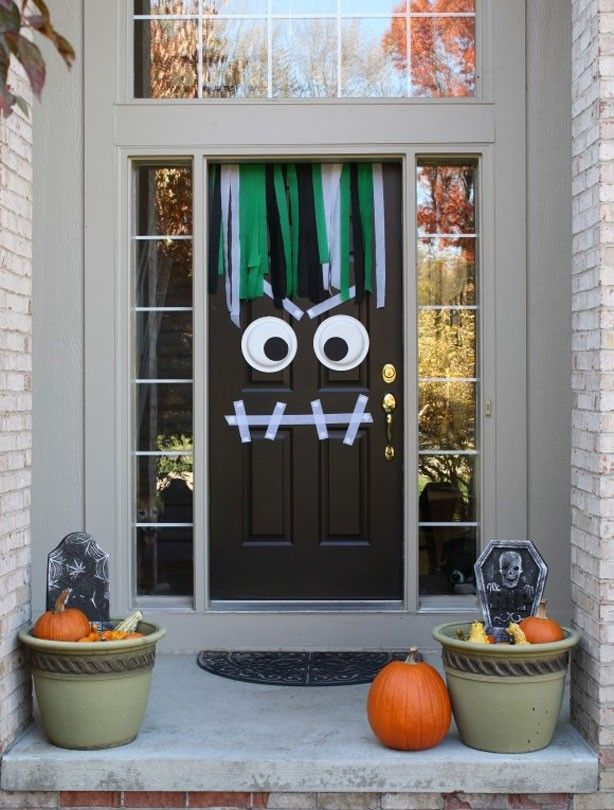 Googly eyed monster - Halloween party ideas Monster Doors Monster - decorating front porch for halloween