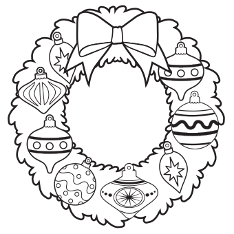 wreath with pretty ornaments and bow christmas coloring pages