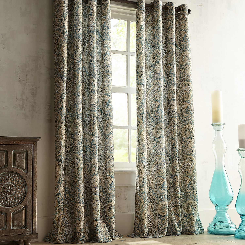 Seasons Paisley Teal Grommet Curtain