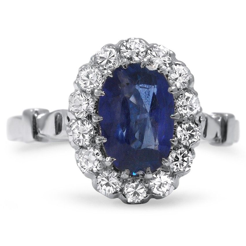 Blue Sapphire and Diamonds Ring
