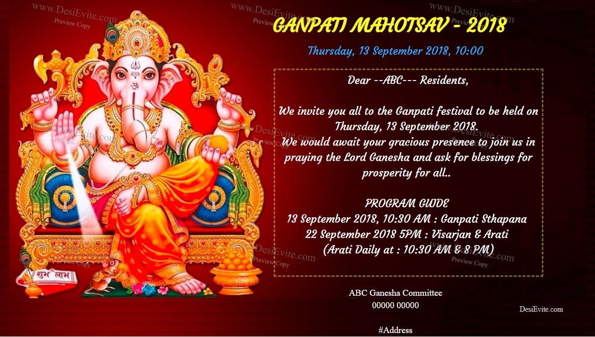Free Ganesh Chaturthi Invitation Card Online Invitations Ganpati Invitation Card Invitation Cards Online Invitation Card