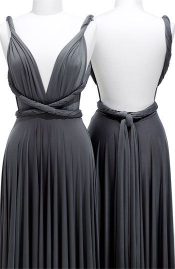 a76b317a88a A gray bridesmaids dress that is convertible...to cool! Also then every  girl could were the dress her way