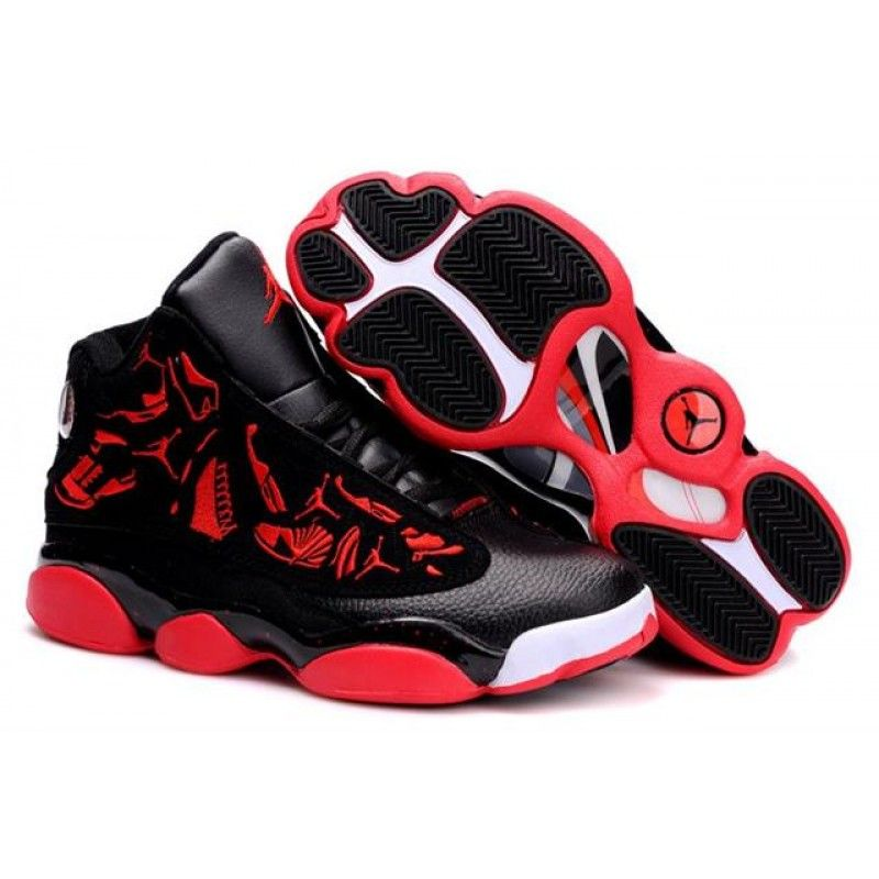 Air Jordan 13 Embroidery Black Varsity Red White in 2019  42ba86792