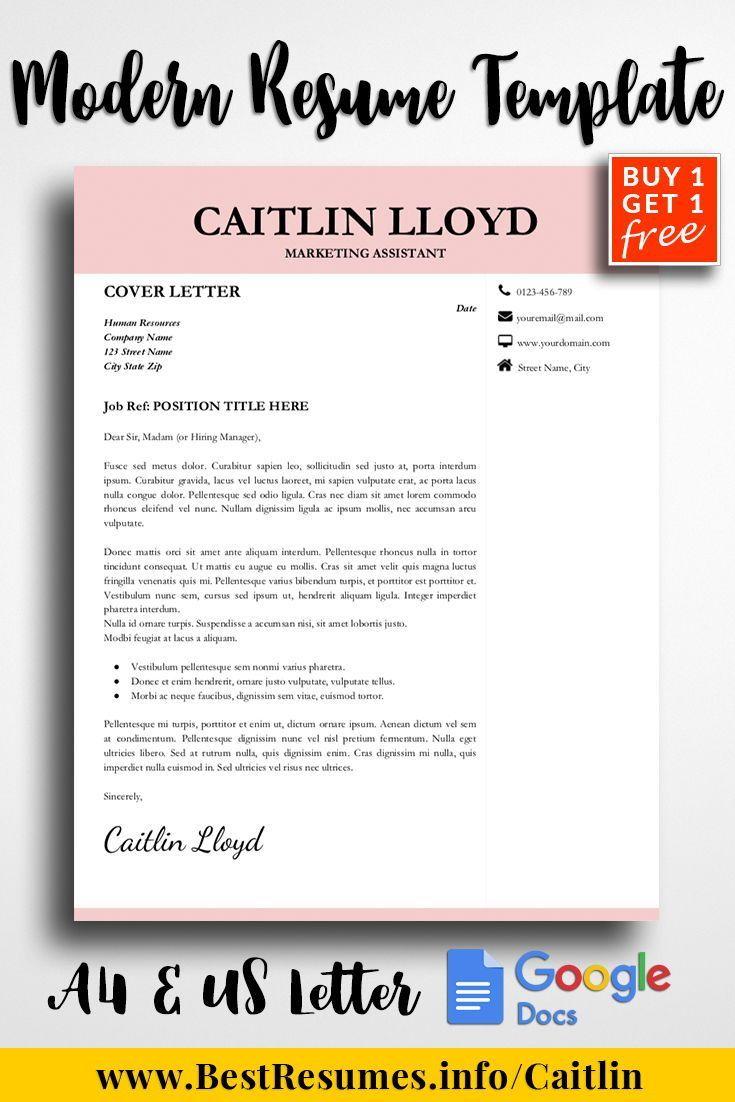 Modern resume template caitlin lloyd resume cover letter