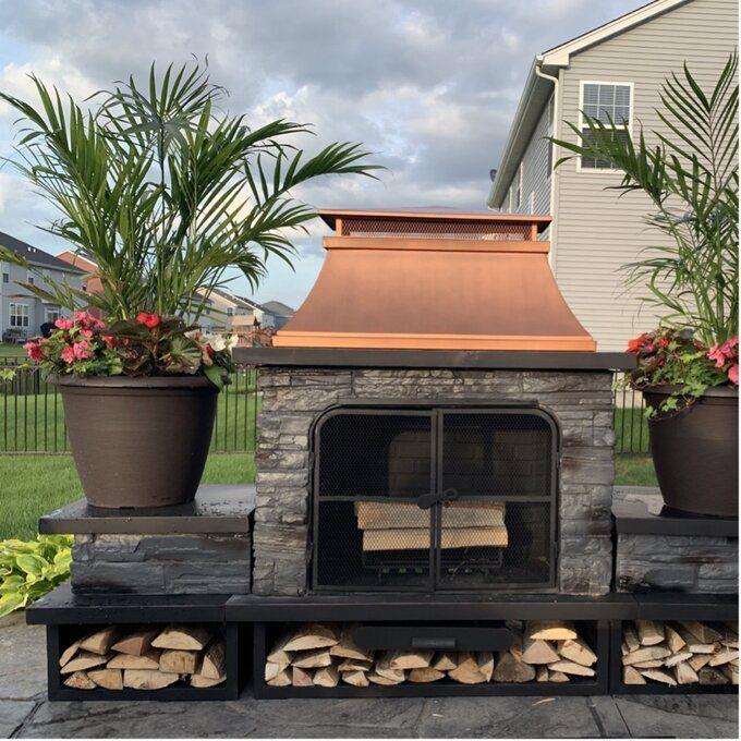 Canora Grey Quillen Steel Wood Burning Outdoor Fireplace ... on Quillen Steel Outdoor Fireplace  id=31586
