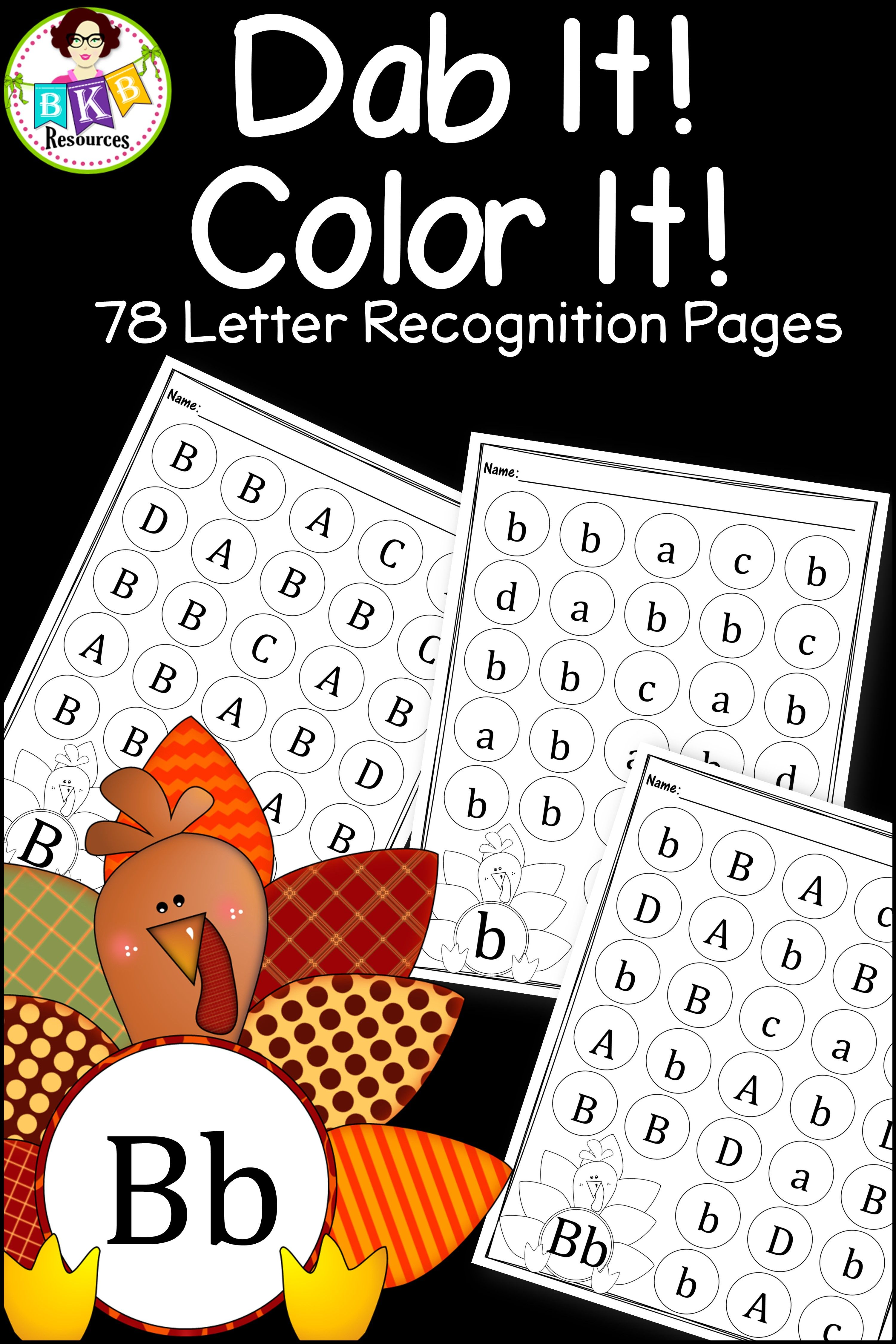 Thanksgiving Letter Recognition Turkey Dab It Uppercase