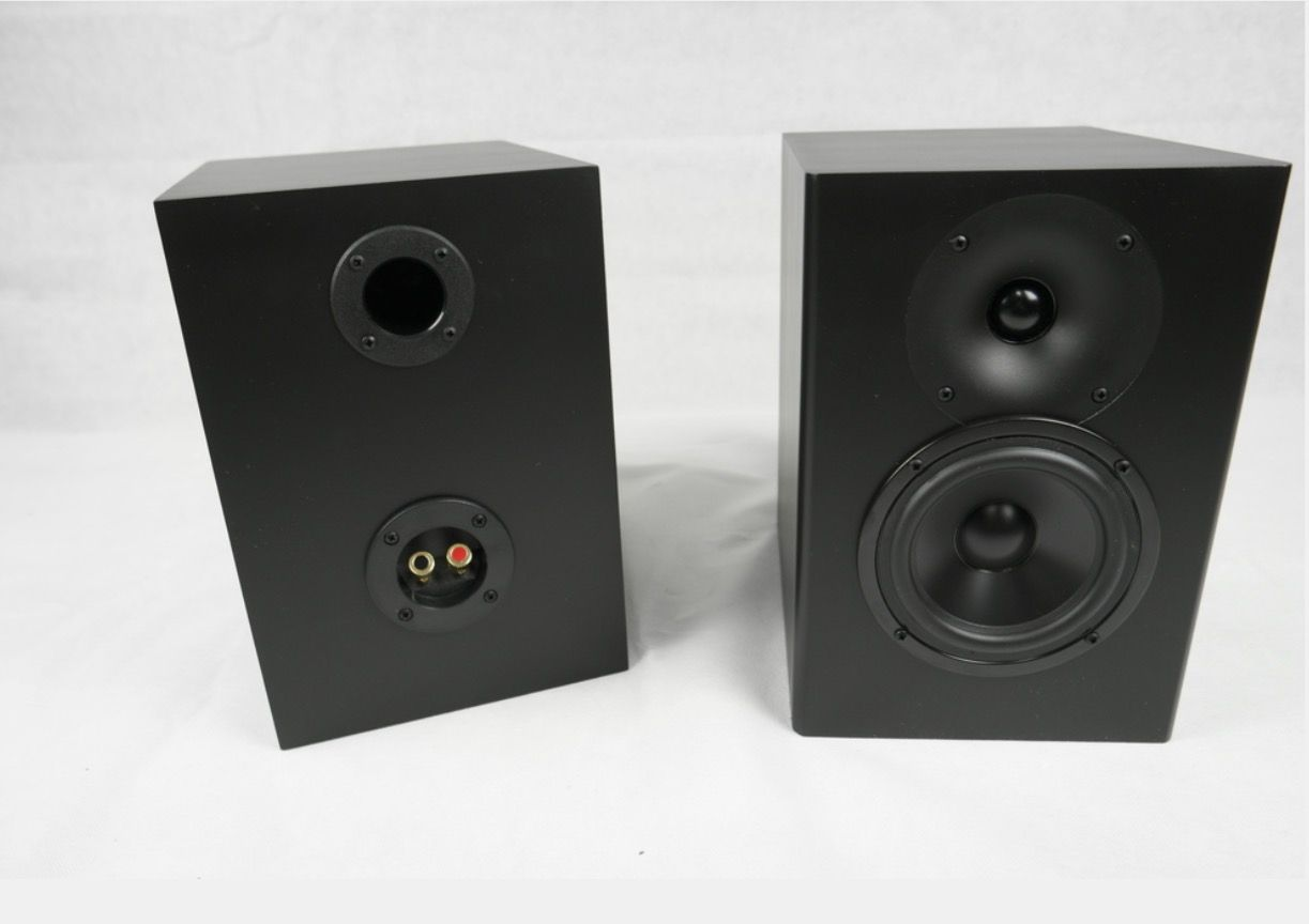 Dayton Audio C-Note Speakers done with a piano finish in