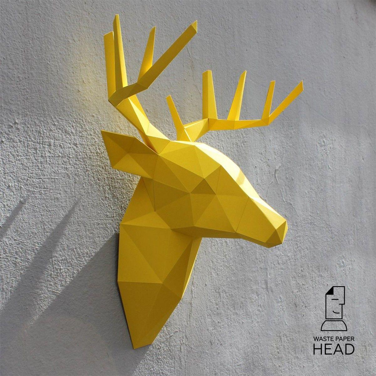 Papercraft deer head №2 - digital template | WastePaperHead ...