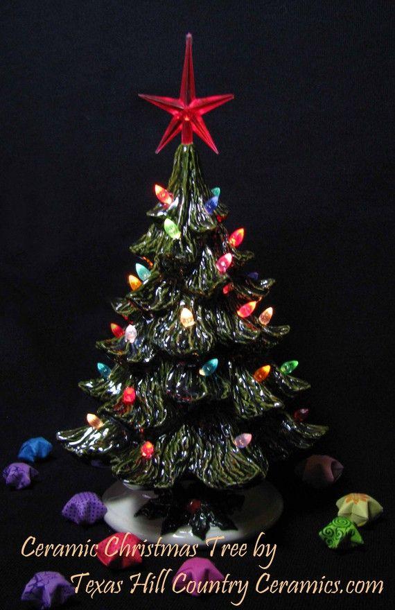Nostalgic Style Ceramic Christmas Tree 8 1/2 Inch Tall Small Round