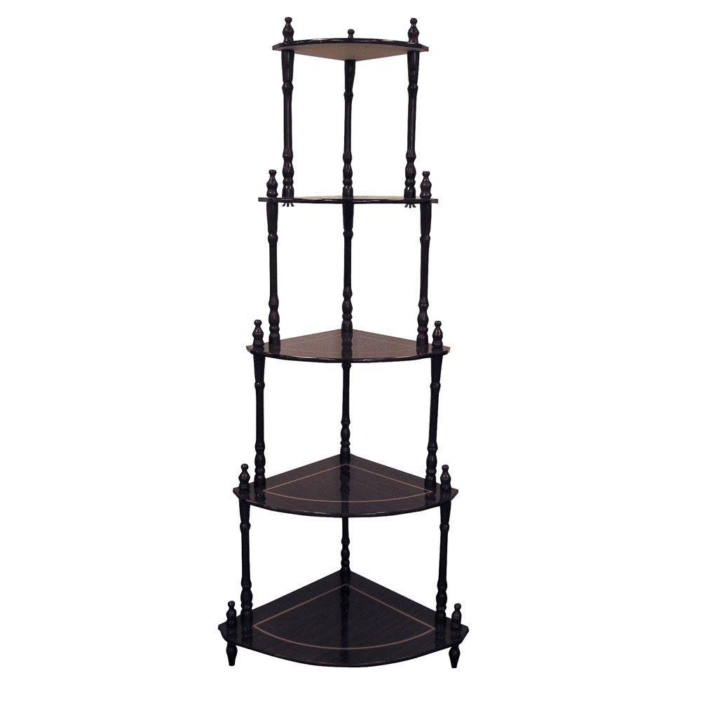 Ore International Cherry 5 Shelf Corner Stand Reddish Brown Corner Shelves Shelves Bookcase
