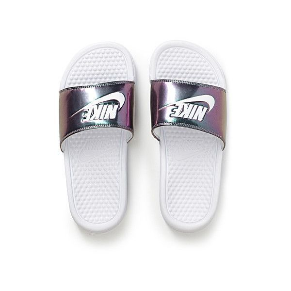new product 27e7c c09a1 Nike Benassi metallic slides ( 24) ❤ liked on Polyvore featuring shoes,  rubber shoes, nike, strappy shoes, nike shoes and nike footwear