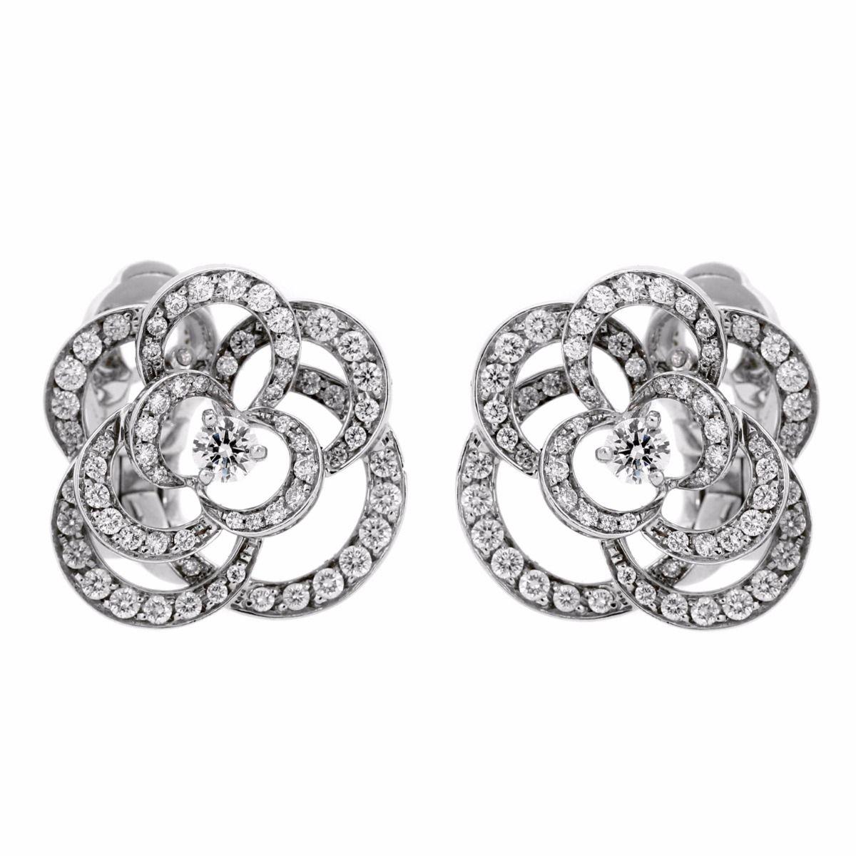 f7e0e5468 Chanel Camellia Flower Diamond Earrings | Opulent Jewelers |  OpulentJewelers.com #Flowers#
