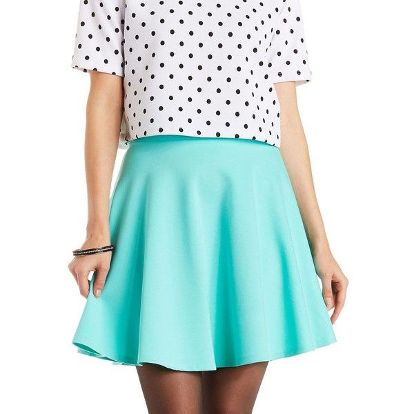 Charlotte Russe Mint Ponte Knit Skater Skirt by Charlotte Russe at... ($17) ❤ liked on Polyvore featuring skirts, mini skirts, mint, skater skirt, high-waisted skirts, flared skirt, circle skirt and high waisted mini skirt