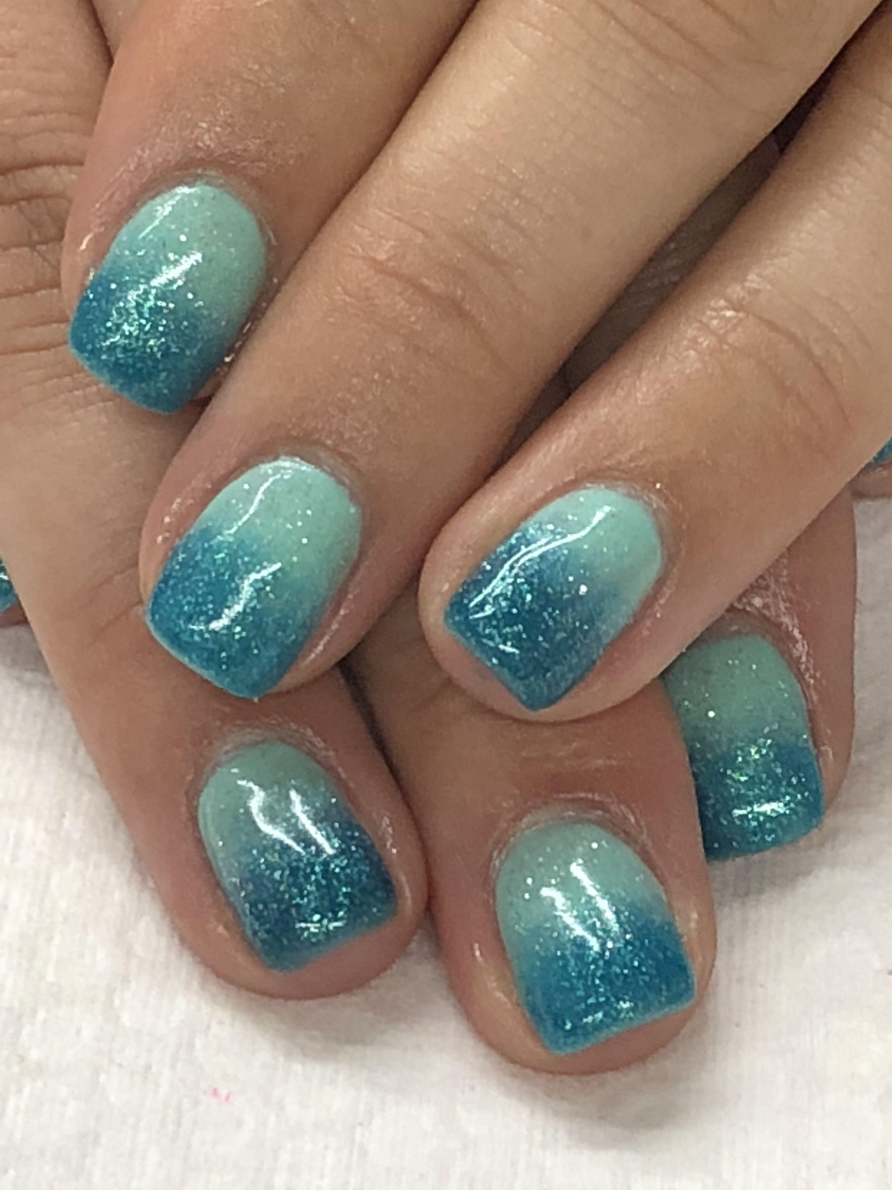 Summer Aqua Teal Ombre Gel Nails Ombre Gel Nails Glitter Gel Nails Ombre Nails Glitter