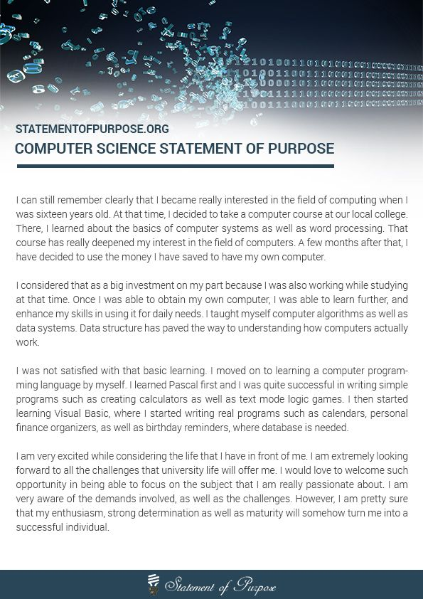 Are you looking for a computer science statement of purpose - sample statement of purpose