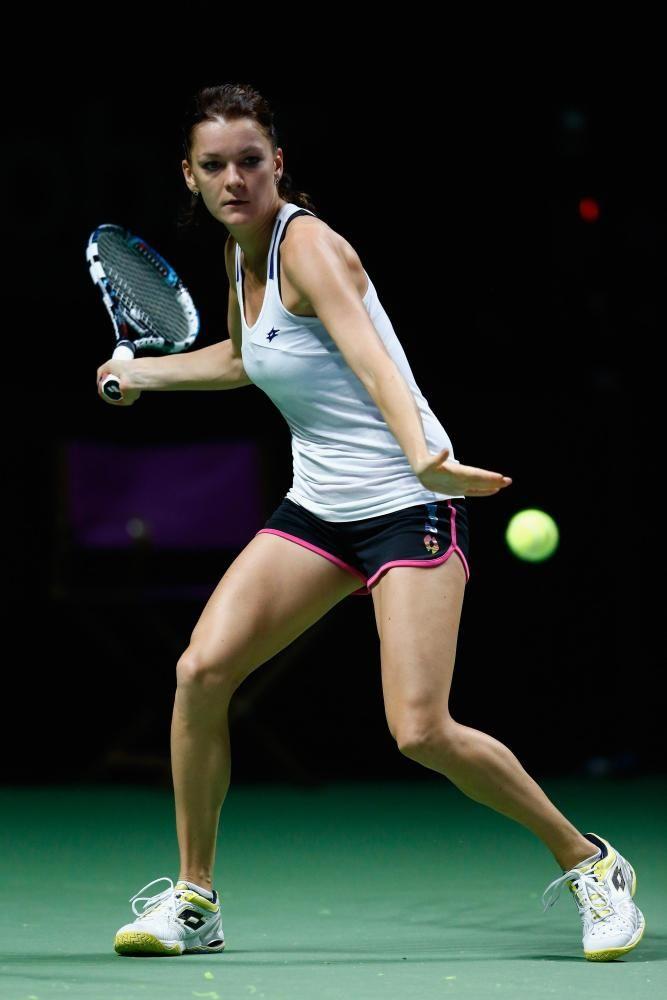 Agnieszka Radwanska practices @ BNP Paribas WTA Finals in Singapore on October 17 & 19, 2014 #WTA #Radwanska #Singapore