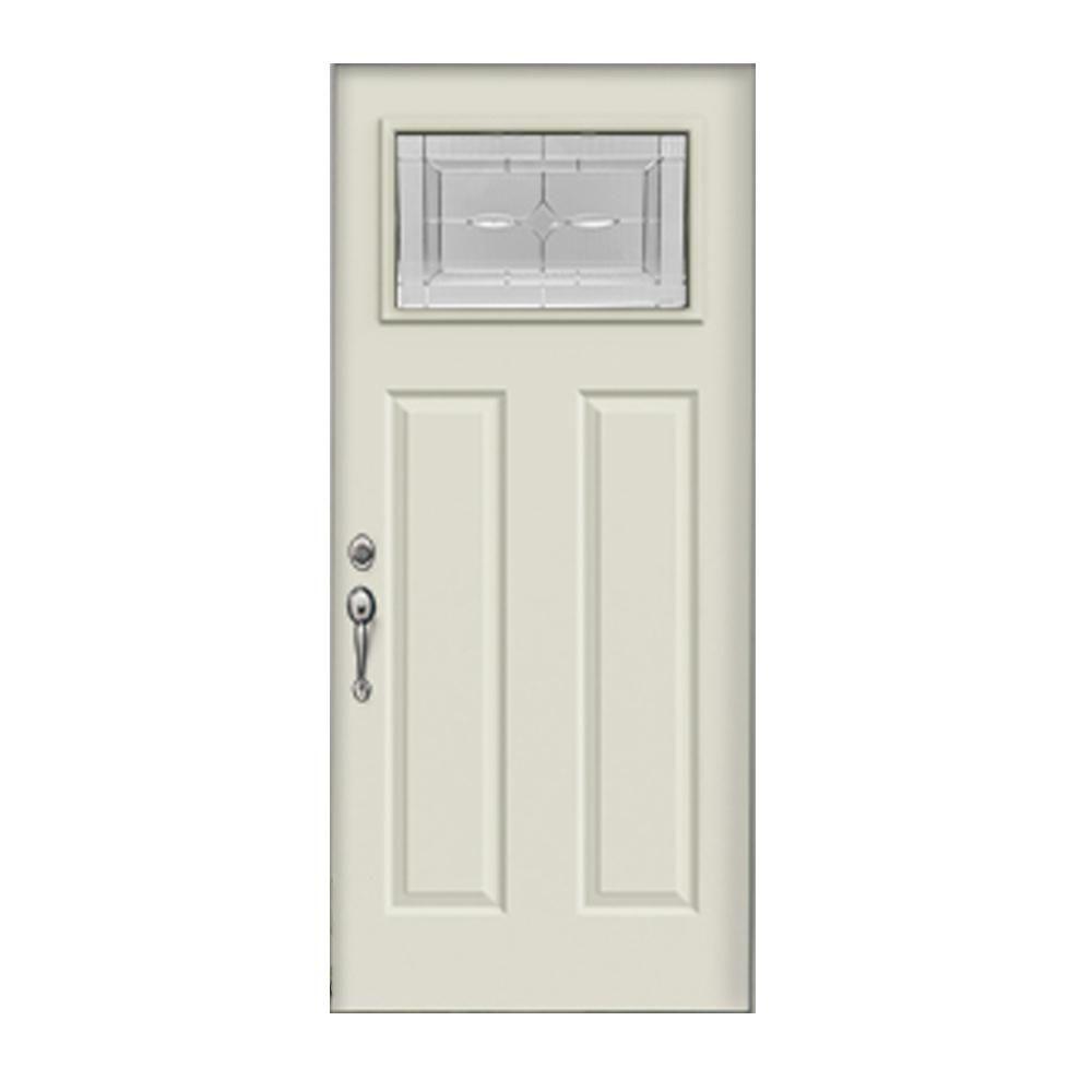 Jeld Wen 36 In X 80 In Right Hand Inswing 1 Lite Craftsman Diamond Park Primed Steel Prehung Front Door Craftsman Style Doors Steel Doors Exterior Front Door