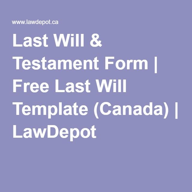 Last Will Testament Form Free Last Will Template Canada