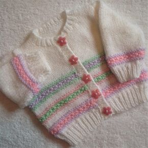 Pastel colours baby cardigan Knitting pattern by Seasonknits #pastelpattern
