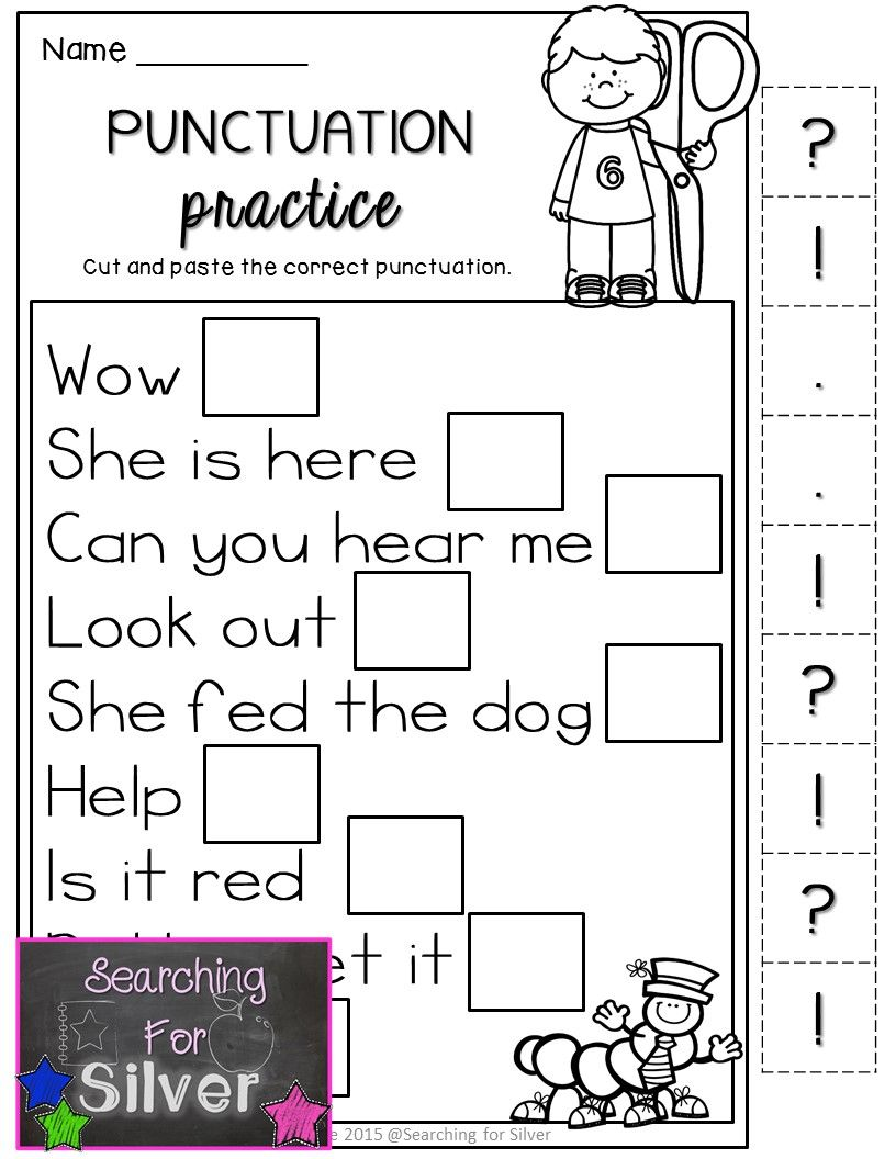 Punctuation practice for FIRST GRADE. Lots of other literacy NO-PREP ...