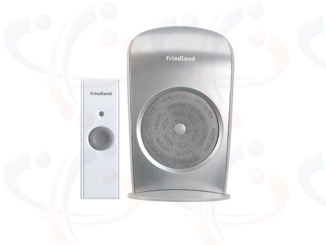 Friedland Evo+ 150m Wirefree Portable Metal Finish Door Chime Kit (D3005)  New Friedland EVO+ 150m wirefree portable metal finish Door Bell Chime Kit (D3003). The contemporary styled Door Chime Unit benefits from 4 CD quality chime sounds and a 4 step volume control. Up to 150 metre operating range between the Chime Unit and the slimline white Doorbell Push. 2 YEAR WARRANTY.
