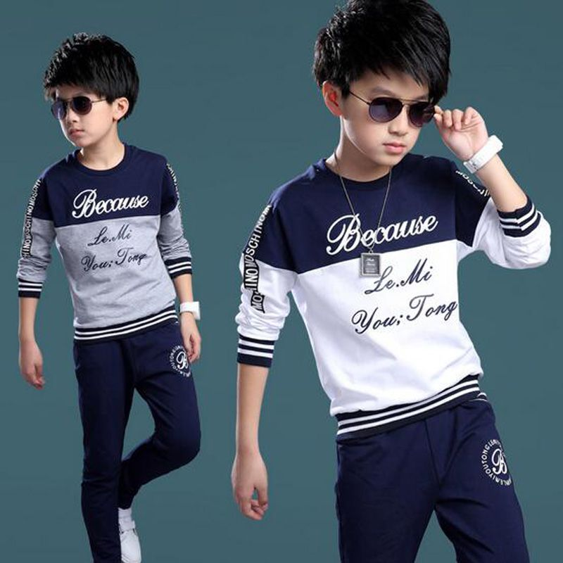 1e95fdb7 Summer Spring Boys Tracksuit Casual Boy Clothing Set Handsome Kids Clothes  Cool Big Boy Sport Suit