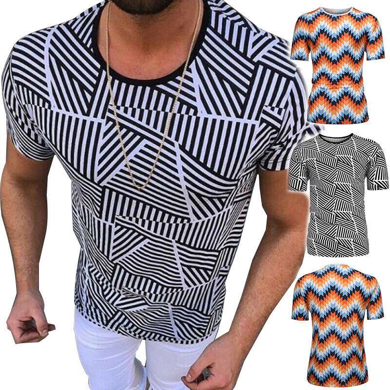 Men Casual Blouse Tops Loose Printing Tees Shirt Short Sleeve T Shirt Blouse