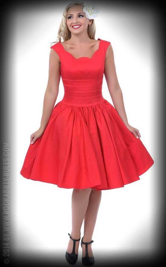 Vintage Swing Kleid Roman Holiday, rot by Unique Vintage. Ein Traum ...