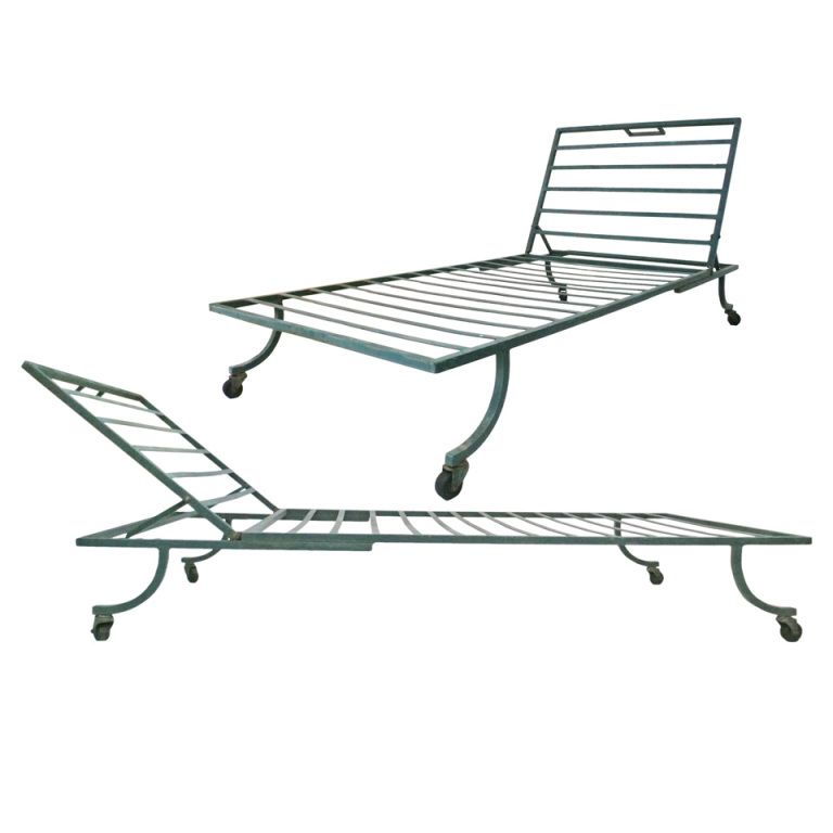 View This Item And Discover Similar Chaise Longues For Sale At A Beautifully Simple And Architectural Pair Of Iron Outdoor Lounge Chairs Designed By Bob
