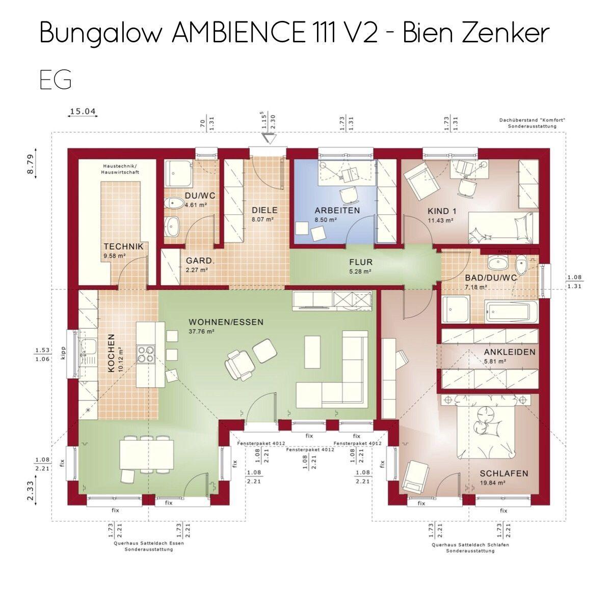 Bungalow Grundriss ebenerdig mit Flachdach Architektur 4
