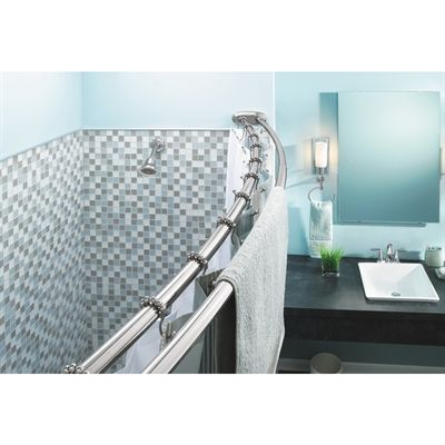 Moen Shower Rod 60-in Chrome Curved Adjustable Double Shower Curtain ...