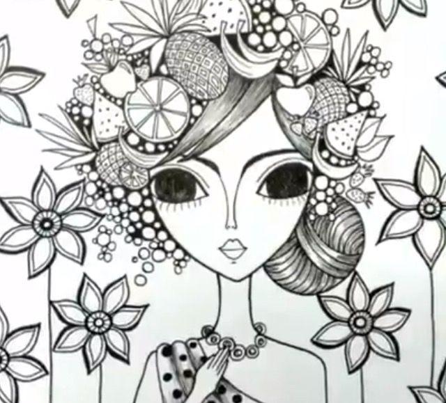 Pin de Antonieta Torres en Rominas   Doodle girl, Zentangle y Art girl