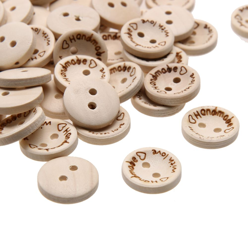 50pcs 2 Holes Handmade Wooden DIY Buttons 2 Holes Tags Label for Scrapbooking
