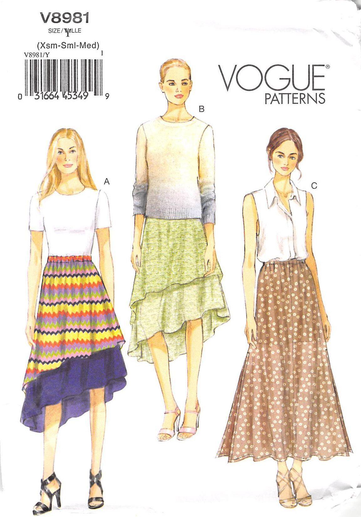 Vogue 8981 - from 2014 - uncut - misses skirt | Patrones antiguos ...