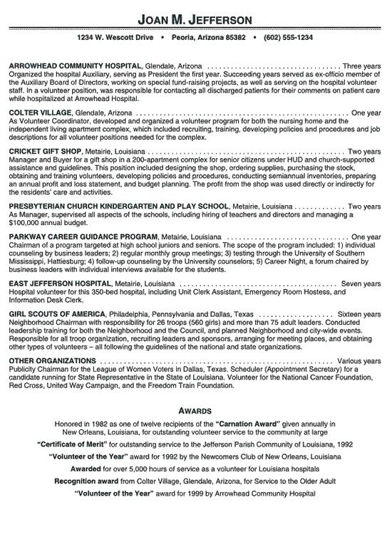 hospital volunteer resume example latest format samples experience - career builder resumes